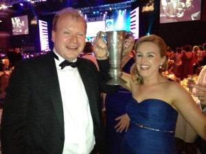 Des Treacy, our chairman, with Angela Curley-Staunton with her best actress award !