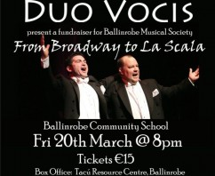 Duo Vocis to perform a one night only fundraising concert for Ballinrobe Musical Society